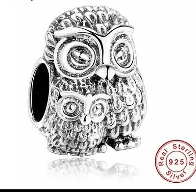 💎🎀 Sterling Silver 925 Mother Owl & Baby Owl Charm &  Pouch • 13.50£