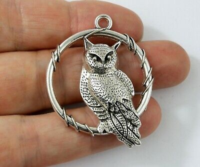 Antique Silver Tibetan Metal TAWNY OWL HOOP Charms Pendant Beads Crafts Cards • 2.21£