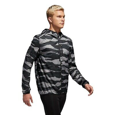 $ CDN83.61 • Buy Adidas Men Own The Run Graphic Shaped Hood Wind Jacket. Color Grey Three / Black