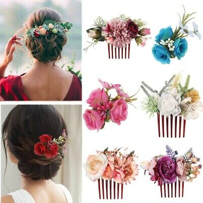 $ CDN5.30 • Buy Women Boho Flower Hair Comb Floral Hair Pin Clip Wedding Bridal Hair Accessories