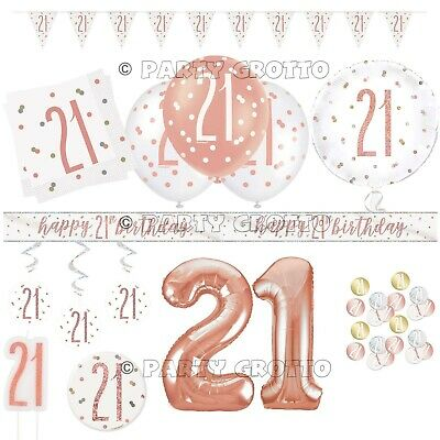 Rose Gold 21st Birthday Party Decorations Women Ladies Balloons Banners Age 21 • 1.69£