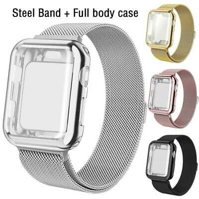 $ CDN9.96 • Buy For Apple Watch Series 5 4 3 2 1 Stainless Steel Wristband Strap+Full Body Case