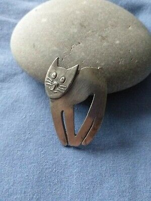 Lovely Signed Mali Cat Brooch Pin Silver Tone • 12£