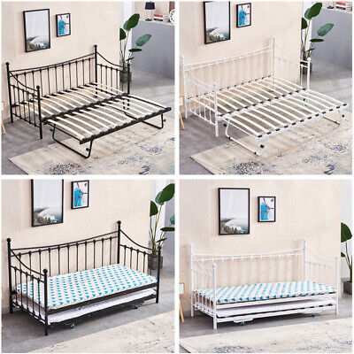 £35.99 • Buy 3FT Single Day Bed Trundle Optional Twin Size Metal Bed Frame Guest Room Bedroom