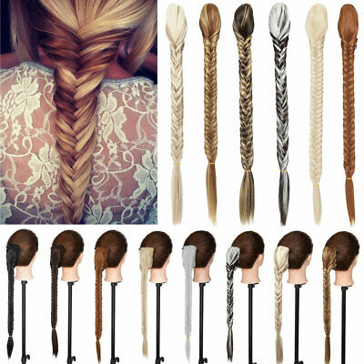 £9.94 • Buy 21 Long Fishtail Plait Clip In Braided Ponytail As Human Hair Piece Extensions W