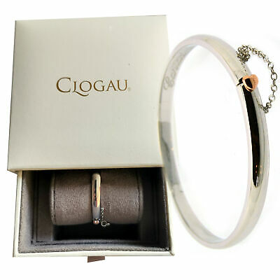 Clogau Silver And Welsh Rose Gold Cariad Heart Bangle Safety Chain Medium • 149.50£