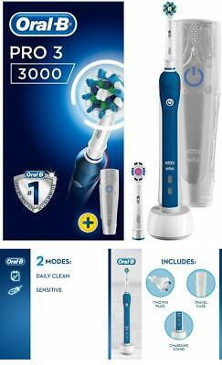 AU117.85 • Buy Braun Oral-B PRO 3 3000 Cross Action 3D Electric Rechargeable Toothbrush +2 Head