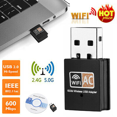 AU7.99 • Buy 600Mbps 2.4-5ghz USB Dual Band Wireless Adapter WiFi Dongle 802.11 AC Laptop PC