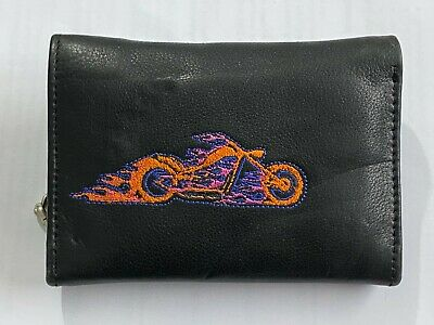 Mens Biker Genuine Leather Wallet With Coin Pocket And Safety Metal Chain Purse • 12.97£