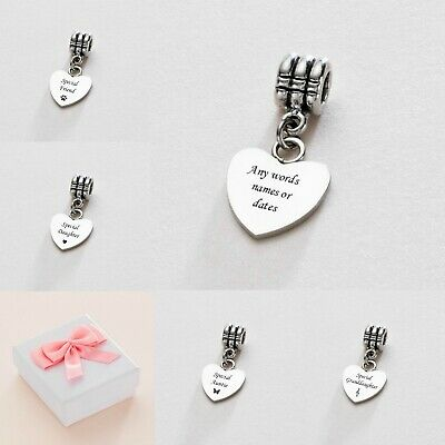 Engraved Heart Charm For Mum, Daughter, Sister, Nanny Etc Can Be Personalised! • 9.99£