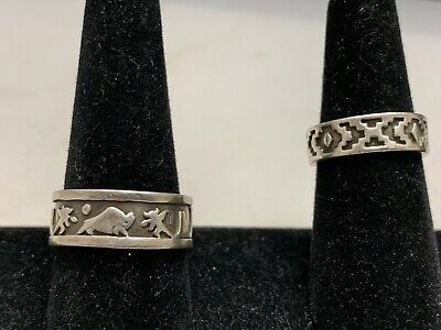 $ CDN92.26 • Buy Lot Of 2 Sterling Vintage Navajo Rings  Signed Sizes 7 & 10.