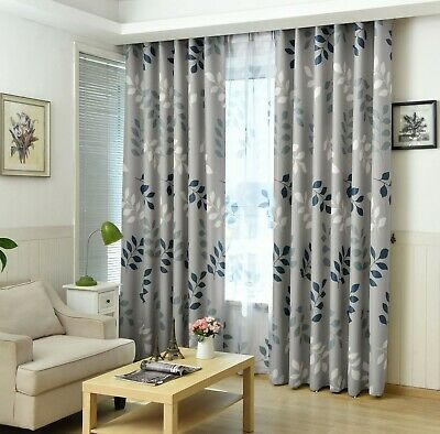 Thermal Blackout Curtains Leaf Pattern Eyelet Ring Top Living Room (Grey/Blue) • 40£