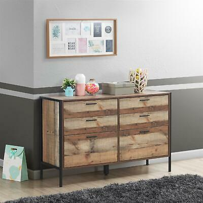 Stretton Rustic Chest 6 Drawers Bedroom Living Room Storage Industrial Oak • 189.99£