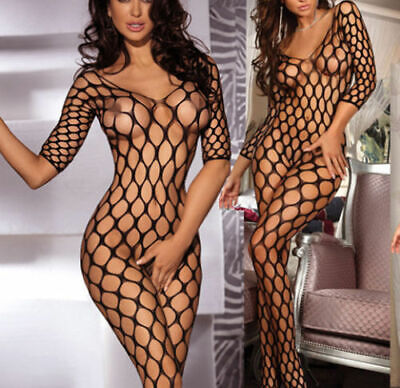 Sexy Fishnet Lingerie Underwear Bodystocking Crotchless Babydoll Bodysuit UK • 2.99£