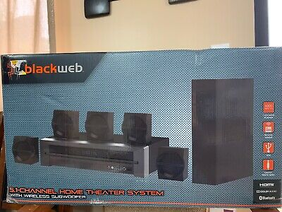 Blackweb 1000-Watt 5.1 Channel Receiver Home Theater System With BT New • 80$