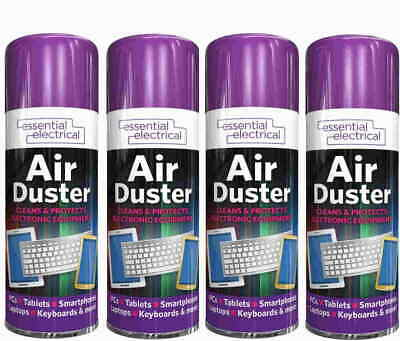 4x 200ml Air Duster Spray Can Cleaner Compressed Dust Blower Laptop Computer DIY • 12.45£