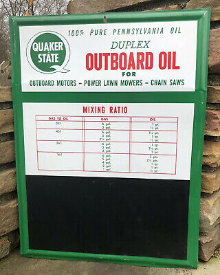 Vtg Quaker State Duplex Outboard Motor Oil Sign Chalkboard Mixing Ratio Tin Sign • 250$