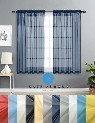 $13.99 • Buy Designer Sheer Voile Rod Pocket Window Curtains - Assorted Colors & Sizes