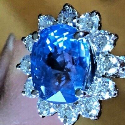 7 CTS BLUE CEYLON SAPPHIRE UNHEATED AGL NO HEAT Gold RING • 10,000$