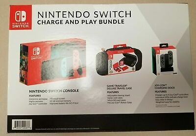 $359.50 • Buy Nintendo Switch 32GB Console Neon Red/Blue Joy-Con Bundle W Case + Charge Dock