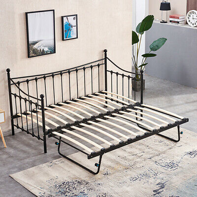£35.99 • Buy Black 3FT Single Day Bed Trundle Optional Twin Size Metal Bed Frame Guest Room