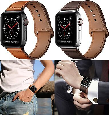 For Apple Watch Genuine Leather Strap IWatch Band 42/38mm Wristband Series 5/4/3 • 8.99£
