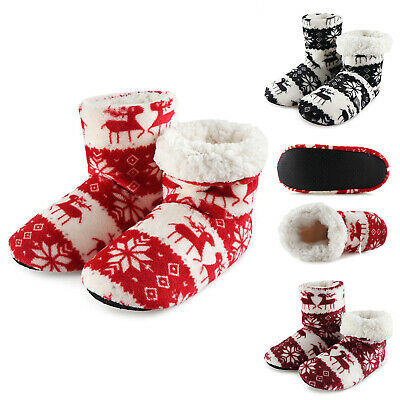 £9.95 • Buy Ladies Slippers Womens Ankle Boots New Knitted Winter Warm Fur Booties Size 3-8