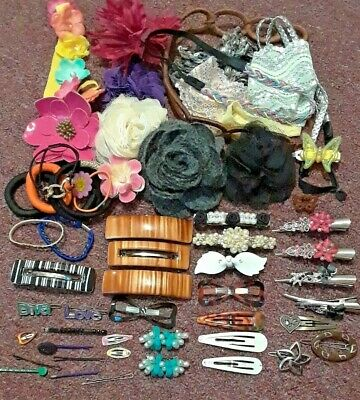 Lot Of Hair Accessories. Flowers, Pins, Barrettes, And More. Some Vintage • 31.49$