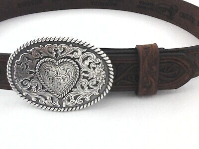 $26.95 • Buy JUSTIN Oval Heart Buckle Belt Brown Tooled Leather Western USA Girls Youth New