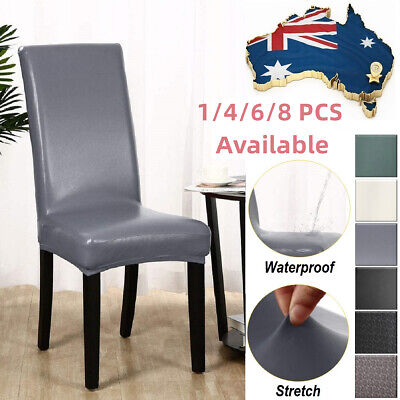 AU57.99 • Buy Dining Chair Covers PU Seat Cover Slipcovers 1/4/6 Pack Waterproof Party Banquet