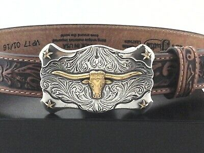 $26.95 • Buy JUSTIN Texas Longhorn Belt Brown Tooled Leather Western Buckle USA Youth 20 New