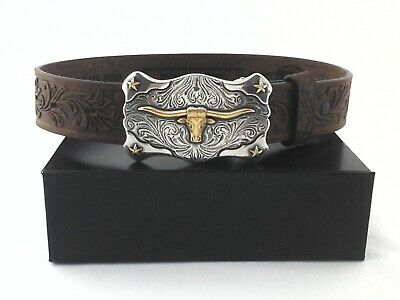 $26.95 • Buy TONY LAMA Texas Longhorn Belt Brown Tooled Leather Western Buckle USA Youth New