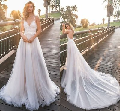 $ CDN120.26 • Buy Pearls Lace Tulle Bohemian Bridal Gown Spaghetti Strap Backless Wedding Dresses