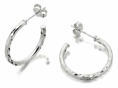 F.Hinds Womens Sterling Silver Diamond Cut Twist Half Hoop Earrings - 20mm • 12.95£