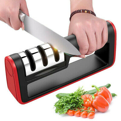 KNIFE SHARPENER Professional Ceramic Tungsten Kitchen Sharpening System Tool • 4.89$