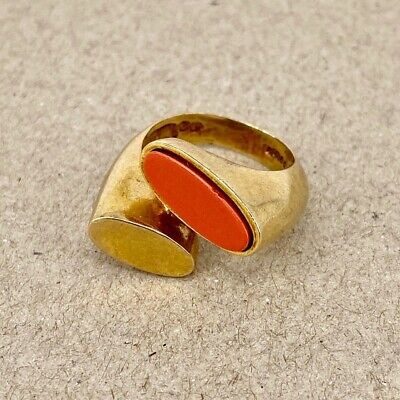 Coral 9ct Yellow Gold - Vintage Cocktail Dress Ring 375 Modernist Design 1960s • 450£