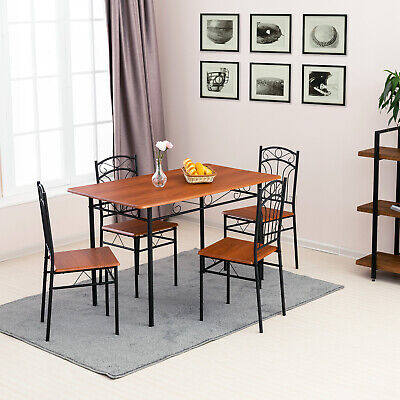 5 Piece Metal Dining Table Set W/ 4 Chairs Wood Top Kitchen Room Reddish Brown • 129.90$