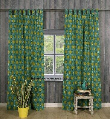 £24.99 • Buy Indian Green Floral Print Curtain Tab Top Tapestry Curtains Window Boho Valance