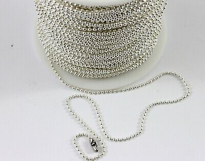 1mm Silver Plated Brass Core Ball Chain - Metal Bead Cord Jewellery Tag Dog • 1.20£