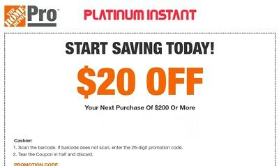 $2.77 • Buy Home Depot $20 Off $200 1COUPON-Instant-InStore Exp 8+ Day