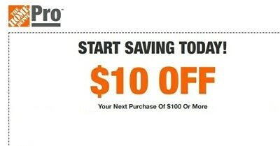 $2.17 • Buy Home Depot $10 OFF $100 Promo.1Coupon In-store Only-Not 5 15 20-sent In 1 Min!