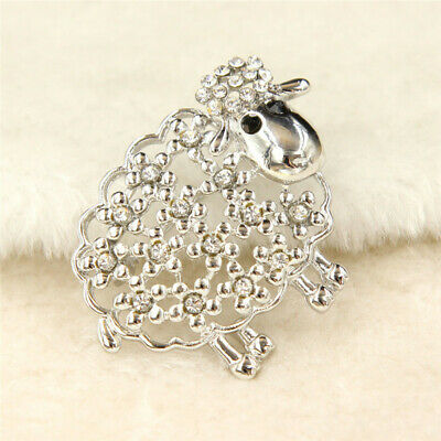 Cute Animal Sheep Shape Brooch Pin Jewelry Rhinestone Diamante Badge Lepel Decor • 4.30£