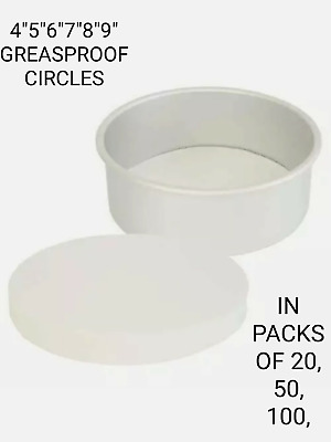GREASE PROOF CIRCLES PAPER LINERS 4,5,6,6.5,7,8,9,INCH. PACKS OF 10 To 100 • 2.40£