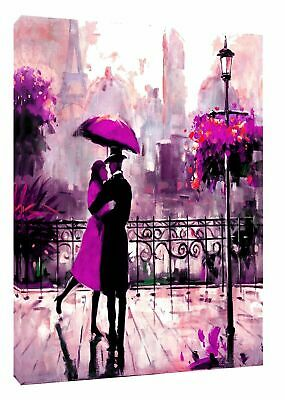 Couple Dancing In Paris Purple  Print On  Framed Canvas Wall Art  decoration  • 24.49£