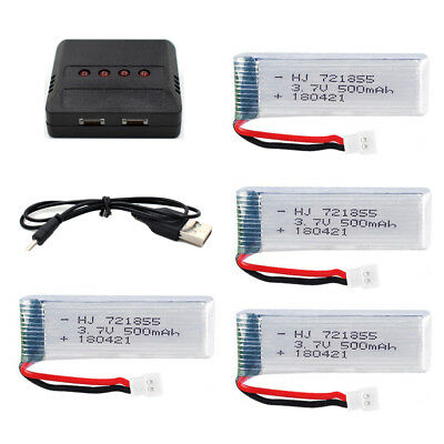 AU30.99 • Buy 4Pcs 3.7V 721855 500mAh 20C Li-Po Battery +USB Charger For RC Drone 51005 Plug