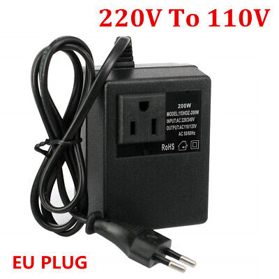 Voltage Converter Transformer 220V To 110V AC 200W Step Down EU Plug Travel Home • 16.99£