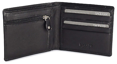 £22.14 • Buy SADDLER Mens Genuine Leather 2 Section 10 Credit Card Tab Billfold Wallet With |