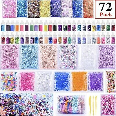 AU24.46 • Buy Kids Slime Supplies Kit Beads Charms Glitter Fishbowl Foam Fruit Slices Beads