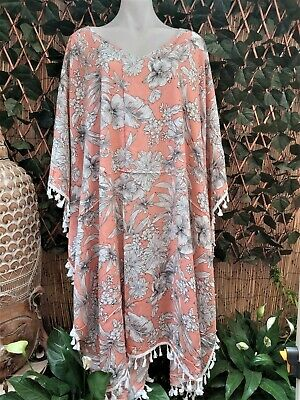 AU44 • Buy Plus Size Long Coral Floral Polynesian Maxi Kaftan With Tassels Size 20-22-24-26