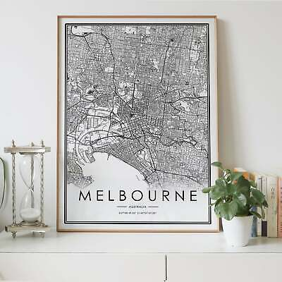 AU24.50 • Buy Melbourne City Lines Map Wall Art Poster Print. Great Home Decor